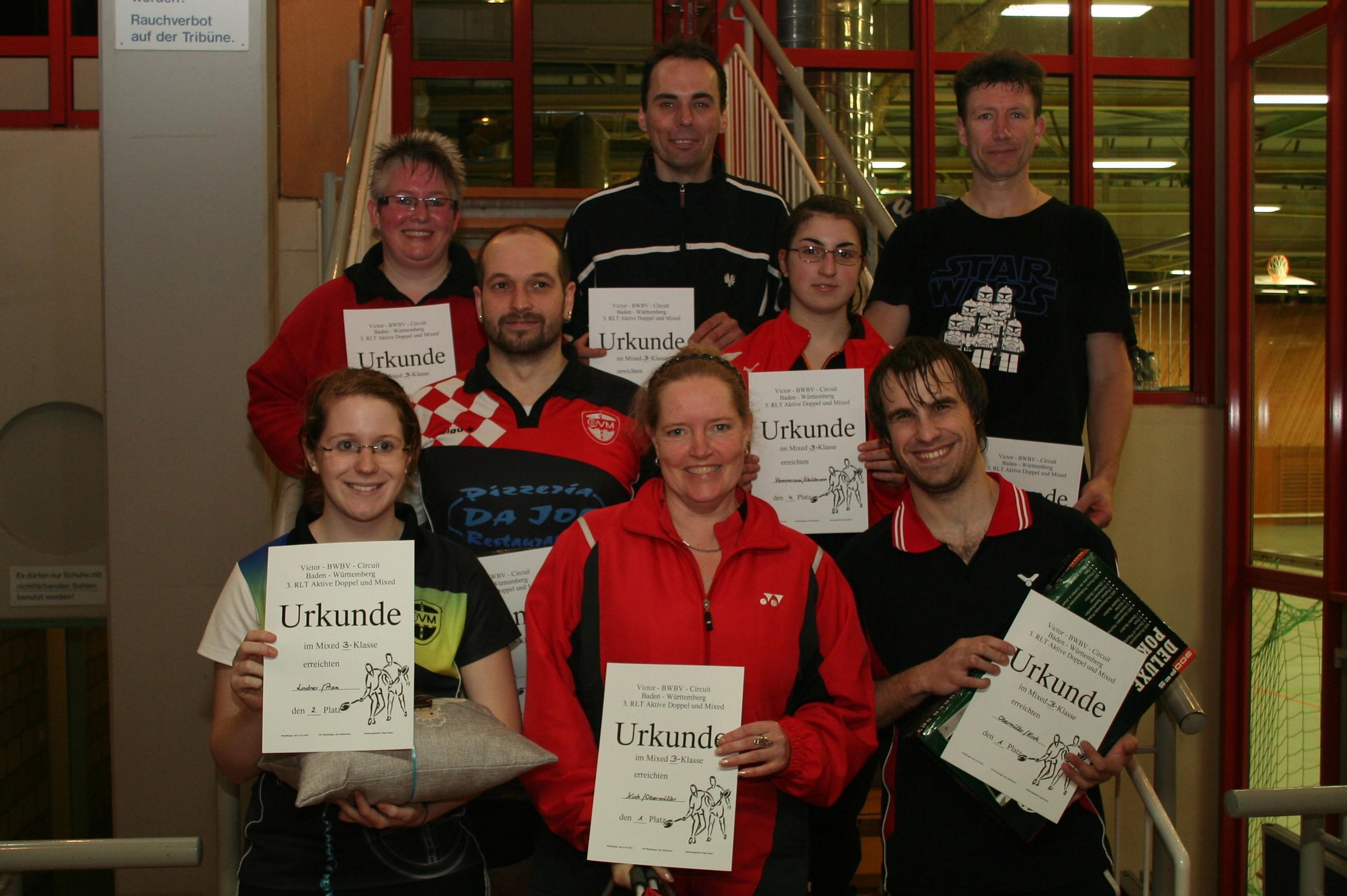 Sieger im Mixed, B-Klasse, Rangliste Wendlingen